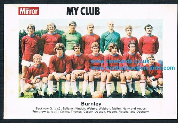 1970 My Club Daily Mirror postcard-size card Burnley